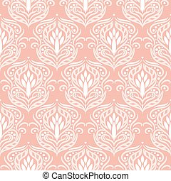 Floral damask pink seamless vector pattern.