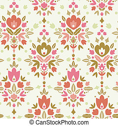 Vector floral damask seamless pattern background with abstract floral elements.
