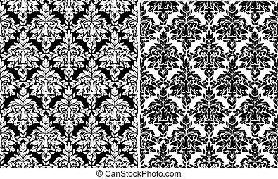 Floral damask seamless patterns