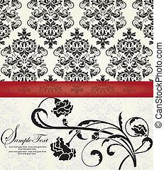 floral, damassé, carte, invitation