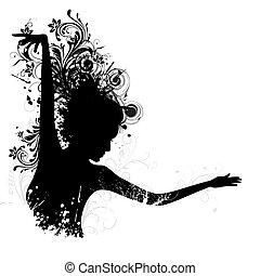 floral, dame, dancing
