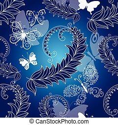 Floral dark blue seamless spring pattern