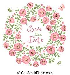 floral, date, couronne, sauver, invitation