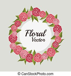 floral, date, sauver, invitation