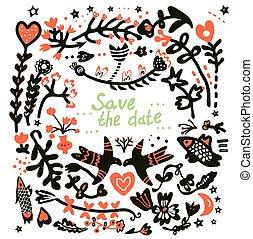 floral, datum, sparen, kaart, trouwfeest