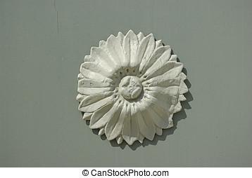 Floral Decor Element - Ornamental detail on a panel.