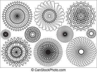 Floral decor elements on white. Vector ornates