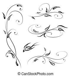Floral decor with bird. Swirl line stylish flower set decorative design elements over white background
