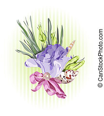 Floral Decor with Eustoma. Vector illustration.