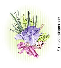 floral, decoração, com, eustoma.