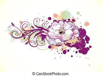 floral, decoratief, achtergrond
