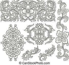 floral, decoratief, boekrol, model