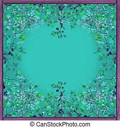 floral, decoratief, frame, achtergrond
