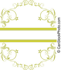 floral, decoratief, frame, groene
