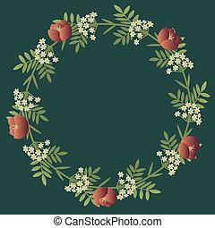 floral, decoratief, krans