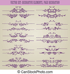 floral, decoratief, vector, set:, communie