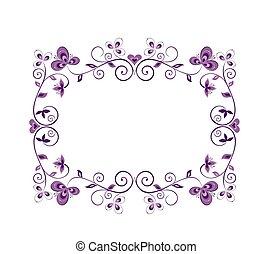 floral, decoratieve rand, viooltje