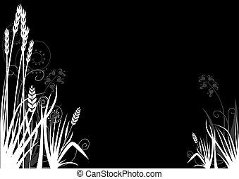 Floral decoration 08 - black and white ornamental decoration