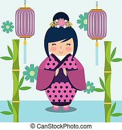 floral decoration chinese lanterns and japanese kokeshi doll...