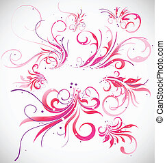 Floral decoration vector collection. Abstract elements design