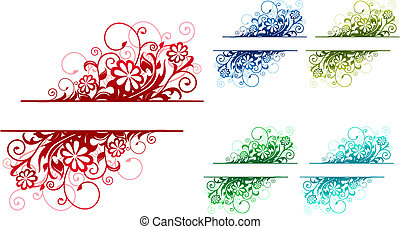 Floral decorations - Colorful floral decorations isolated on...