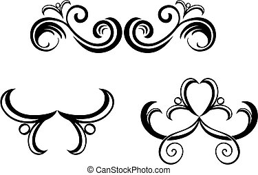 Floral decorations isolated on white background