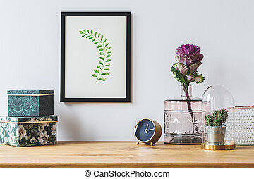 Floral decorations on white background