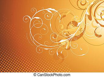 Floral Decorative background - Vector illustration of brown...