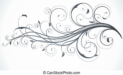 Floral Decorative background - illustration of swirling...