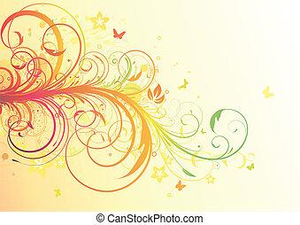 Floral Decorative background - Vector illustration of Grunge...