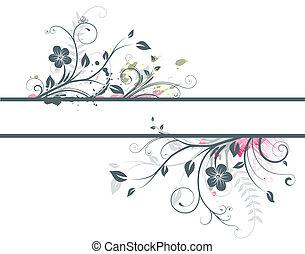 Floral Decorative banner - illustration of style Floral...