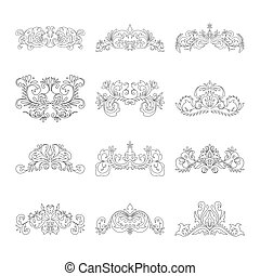 Floral decorative design element collection vintage style