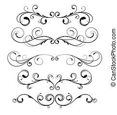 floral decorative elements - set of floral decorative...