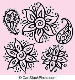 Floral decorative elements - Set of floral ornamental ethnic...