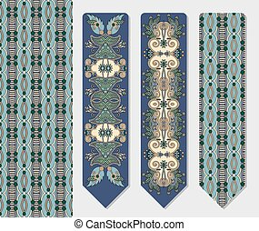 decorative ethnic paisley two bookmark for printing