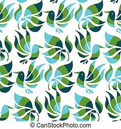 floral decorative flat bird and tropical plant, vector illustration