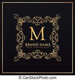 floral decorative frame border monogram logo for letter M