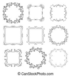 floral decorative frames - vector set