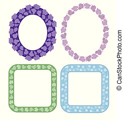 floral decorative frames with grapes - vector set
