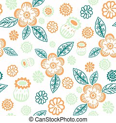 Floral decorative seamless background for textiles and paper. Pastel colors.