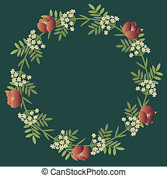 Floral decorative wreath with red and white flowers