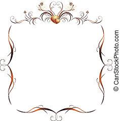 floral, decorativo, marco