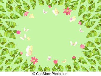 floral, decorativo, marco, frontera
