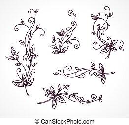 floral, decorativo, projeto fixo