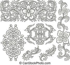 floral, decorativo, scroll, padrão