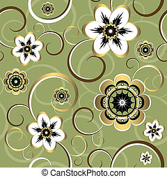 floral, decorativo, seamless, (vector), padrão
