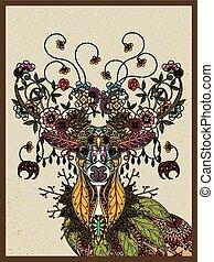 floral deer adult coloring page