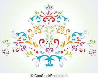 floral dekoráció, elvont, többszínű