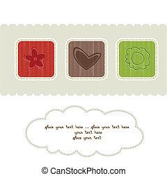 floral, delicado, tarjeta, saludo