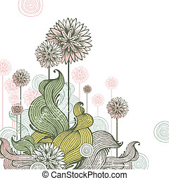 floral, desenhado, vetorial, ilustração, mão